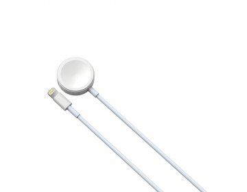 Devia kabel 2w1 Smart USB Lightning biały z ładowarką indukcyjną do Apple Watch