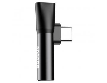 Baseus adapter USB L41 typ-C do USB typ-C/mini-jack 3,5 mm czarny