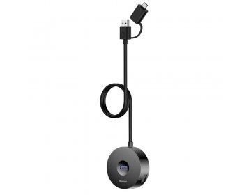 Baseus adapter HUB USB-A/typ-C do 4xUSB czarny 1m