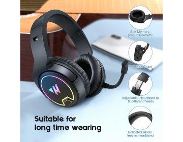 Bezprzewodowe Słuchawki Gamingowe 3D Stereo Sound z Mikrofonem Wintory W1 Czarne