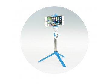 Zestaw/uchwyt do selfie z pilotem na bluetooth tripod niebieski