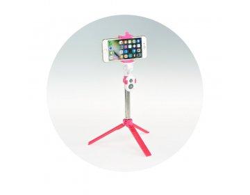 Zestaw/uchwyt do selfie z pilotem na bluetooth tripod różowy