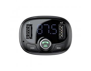 Baseus Transmiter FM bluetooth MP3 z ładowarką samochodową + 2 USB czarny CCTM-01