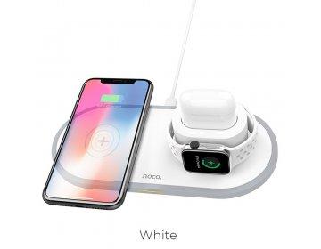 Hoco ładowarka indukcyjna Qi 3w1 telefon + zegarek + airpods 2A 10W CW21 biały