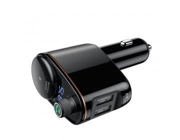 Baseus Transmiter FM bluetooth MP3 Locomotive z ładowarką samochodową 2 x USB 3,4A CCALL-RH01 czarny