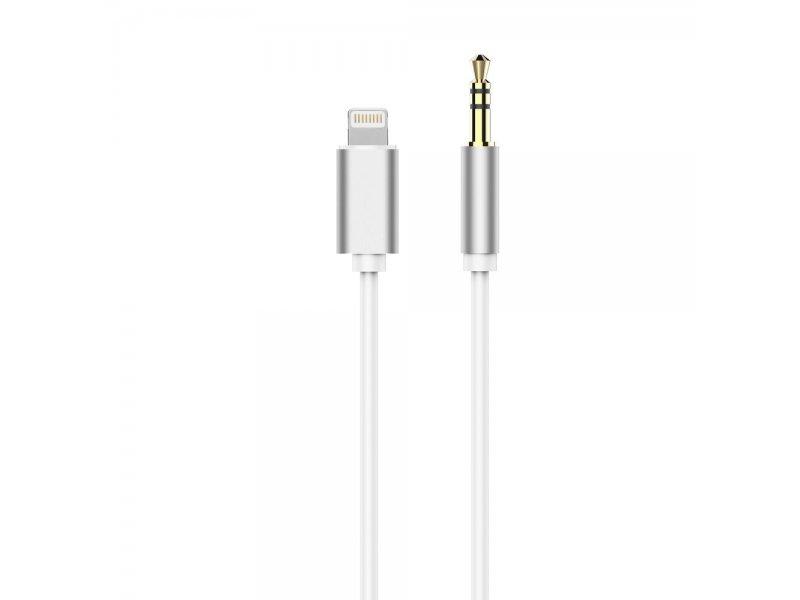 Adapter HF/audio do iPhone Lightning 8-pin Jack 3,5mm biały kabel męski