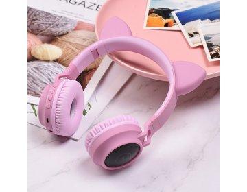 Hoco słuchawki bluetooth nagłowne W27 CAT EAR różowe