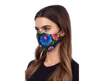 Maska na twarz   profilowana wzór łowicki czarny