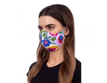 Maska na twarz   profilowana wzór łowicki biały
