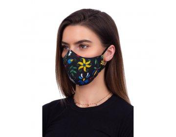 Maska na twarz   profilowana wzór kaszubski czarny