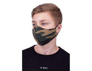 Maska na twarz   profilowana dla dzieci 8-12 lat wzór moro czarny