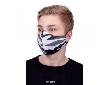 Maska na twarz   profilowana dla dzieci 8-12 lat wzór moro biały