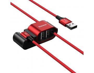 Baseus samochodowy kabel USB do iPhone Lightning 8-pin HUB 2xUSB 1.5m czerwony CALHZ-09