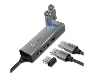 Baseus HUB Cube adapter ze złącza USB 3.0 na 5x USB 3xUSB 3.0, 2xUSB 2.0 szary CAHUB-C0G