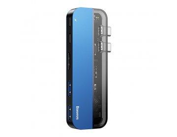 Baseus HUB 2xUSB Typ C na USB Typ C Power Delivery 60Win/USB Typ C 15Wout/HDMI 4K/2xUSB 3.0 do MacBook Pro niebieski CAHUB-TS03