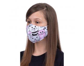 Maska na twarz   profilowana dla dzieci 8-12 lat wzór kotki