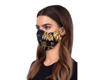 Maska na twarz   profilowana wzór złota dżungla