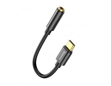 Baseus adapter audio/HF/ AUX typ C + jack 3,5 mm czarny CATL54-01