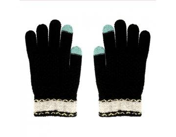 Rękawiczki EKRANÓW DOTYKOWYCH CZARNE Z KWIATUSZKIEM