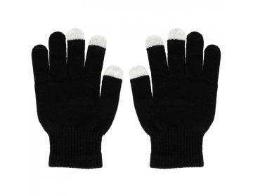 Rękawiczki EKRANÓW DOTYKOWYCH CZARNE Z CZASZKĄ
