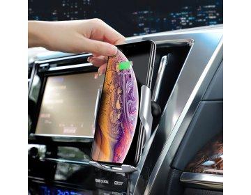 Hoco Uchwyt Samochodowy > S14 Surpass z ładowaniem indukcyjnym, mocowaniem na kratkę i przyssawką srebrny