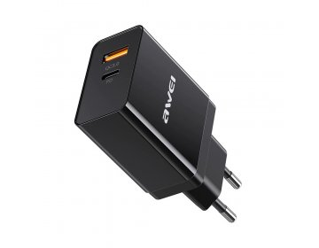 Awei ładowarka sieciowa > C-980 1xUSB QC 3.0 + USB Typ C PD 3.0 Czarna