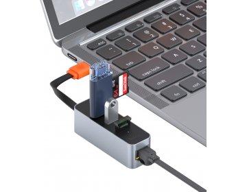 Baseus Adapter HUB USB na 3xUSB 3.0 + RJ45 CAHUB-AH0G ciemnoszary