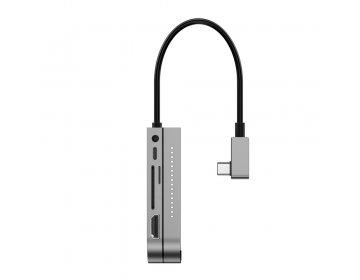 Baseus Adapter HUB Typ C na USB3.0 + HDMI 4K + SD/microSD + Typ C PD + jack 3,5mm CAHUB-WJ0G ciemnoszary