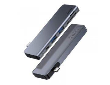 Baseus Adapter HUB Typ C na 2xUSB3.0 + Typ C PD + SD + microSD CAHUB-K0G szary