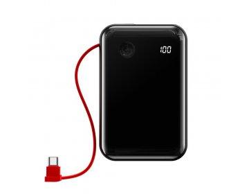 Baseus power bank 10000mAh mini S USB + Typ C 3A 15W z kablem Typ C PPXF-A01 czarny