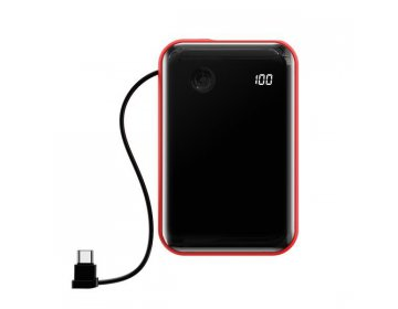 Baseus power bank 10000mAh mini S USB + Typ C 3A 15W z kablem Typ C PPXF-A09 czerwony