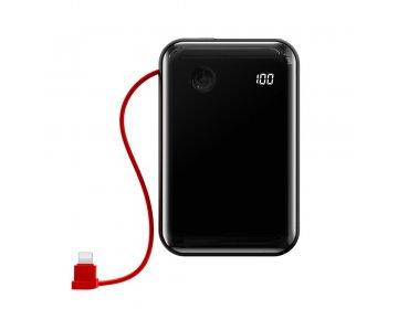Baseus power bank 10000mAh mini S USB + Typ C 3A 15W z kablem Lightning PPXF-E01 czarny