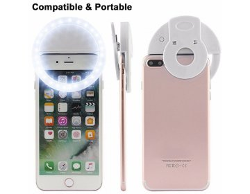 Lampa pierścieniowa do zdjęć selfie biały + kabel USB ma micro USB