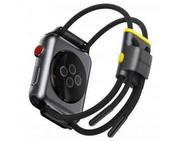 Baseus Regulowany pasek sportowy Let`s Go do Apple Watch 3/4/5/6/SE 42/44mm LBAPWA4-BGY Szaro-żółty