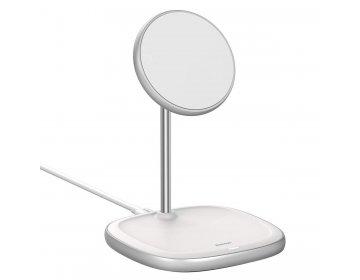 Baseus Uchwyt Magnetyczny Swan z ładowaniem indukcyjnym 15W do iPhone 12 WXSW-02 biały