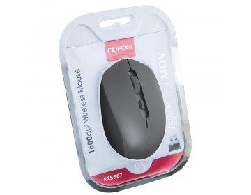 Cliptec Mysz komputerowa Mov RZS867 bezprzewodowa optyczna 1600DPI szara