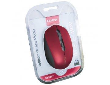 Cliptec Mysz komputerowa Mov RZS867 bezprzewodowa optyczna 1600DPI bordowa